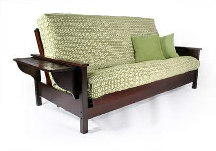 Strata Furniture Tiro Dark Cherry Queen Wall Hugger Futon Frame