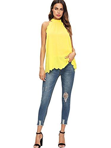 1ff999f4c5452 MAKEMECHIC Women s Sleeveless Halter Neck Tank Self Tie Scallop Blouse Top  Yellow L