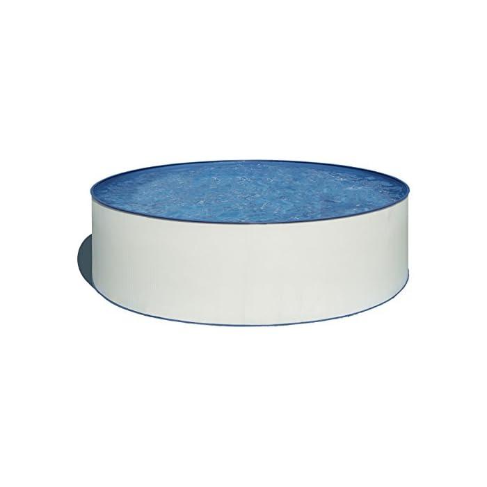 413Yml3mFbL Piscina desmontable redonda de pared de acero blanco de 300 x 90 (Diámetro x Alto) Con filtro de cartucho de 2 m³/h Incluye escalera de seguridad con dos peldaños por cada lado