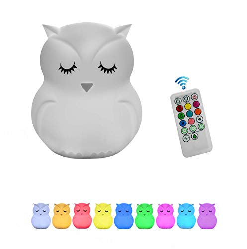 Night Lights for Kids, Remote Control and Tap Control Night Light with Soft Silicone Cute Owl Rechargeable 9-Color Dimmable Night Light for Nursery, Bedroom, Living ()
