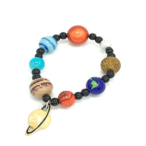 Solar System Bracelet Jewelry - Galaxy Space Solar System Planet Universe Earth Astronomy Beads Bracelet - Handmade Stretch Charm Bracelet Gift for Women in Organza Bag