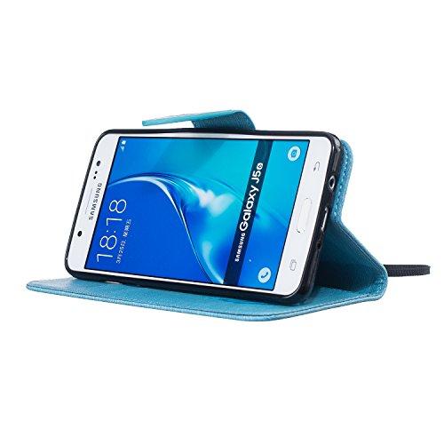 Sunroyal ® Funda Samsung Galaxy J5 (2016 edicion) Carcasa Cuero Tapa Leather Wallet Ultra Slim Case Cover PU Piel Wallet Style Flip Cierre Magnético y Función de Soporte Billetera con Tapa para Tarjet A-11