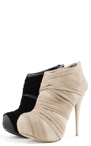 Neutral95 Velvet Strap Wrapped Booties BLACK RzLY1jkTe