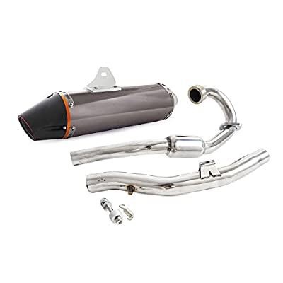 NICECNC Full Complete Exhaust System Stainless Steel Exhaust Header & Mid Pipe & Aluminium Alloy Tail Muffler for Yamaha TTR230 TTR 230 2005-2016
