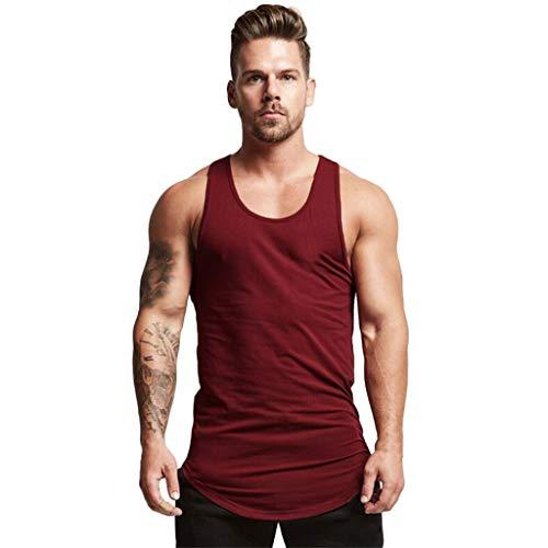 iHPH7 T-Shirt Vest Men Tank Top Men Fashion Round Collar Elliptical Hem Casual Fitness T-Shirt Vest L Wine ()