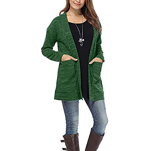 HULKAY Women Cardigan Jackets Elegant Long Sleeve Maxi Coat Pullover with Pockets(Green,2XL)