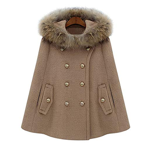 Casual Per Pelliccia Casual brown Mantella Cappotto A l Feltro Lagenlook Da Brown Sintetica Abiti Mantello In Donna Sera Luckgxy Doppiopetto Lana xTXwaOXq