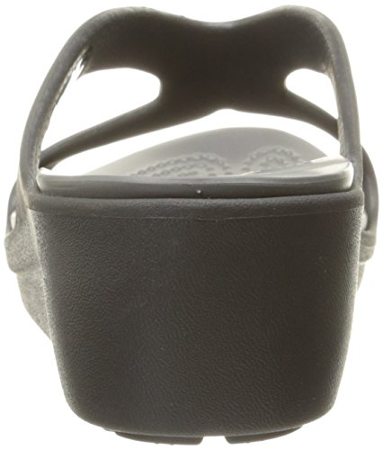 Crocs Women's Sanrahwdgsndl Heels Sandals Black (Black/Graphite) PIt92r