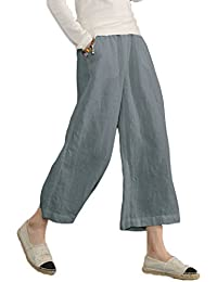 Womens Casual Loose Plus Size Elastic Waist Cotton...