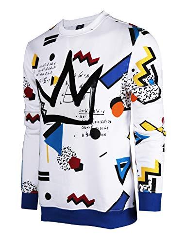 SCREENSHOTBRAND-F11963 Mens Urban Hip Hop Premium Fleece - Pullover Activewear Street Fashion Crew Neack Sweatshirt-White/Pop-Large from SCREENSHOT