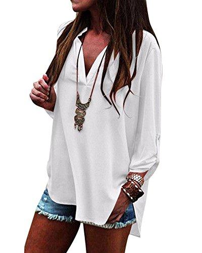 Camicetta Forti Donne Collo Top T V Shirt Chiffon Taglie Bianco Dei Lunga Camicie Manica TBqwvZw