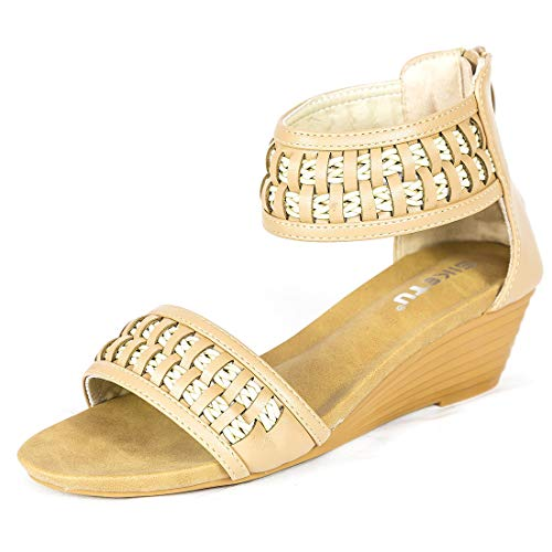 Womens Espadrille Wedge Sandals Peep Toe Woven Slides on Platform Summer High Heel Slippers-6 M US Apricot (Woven High Heel)