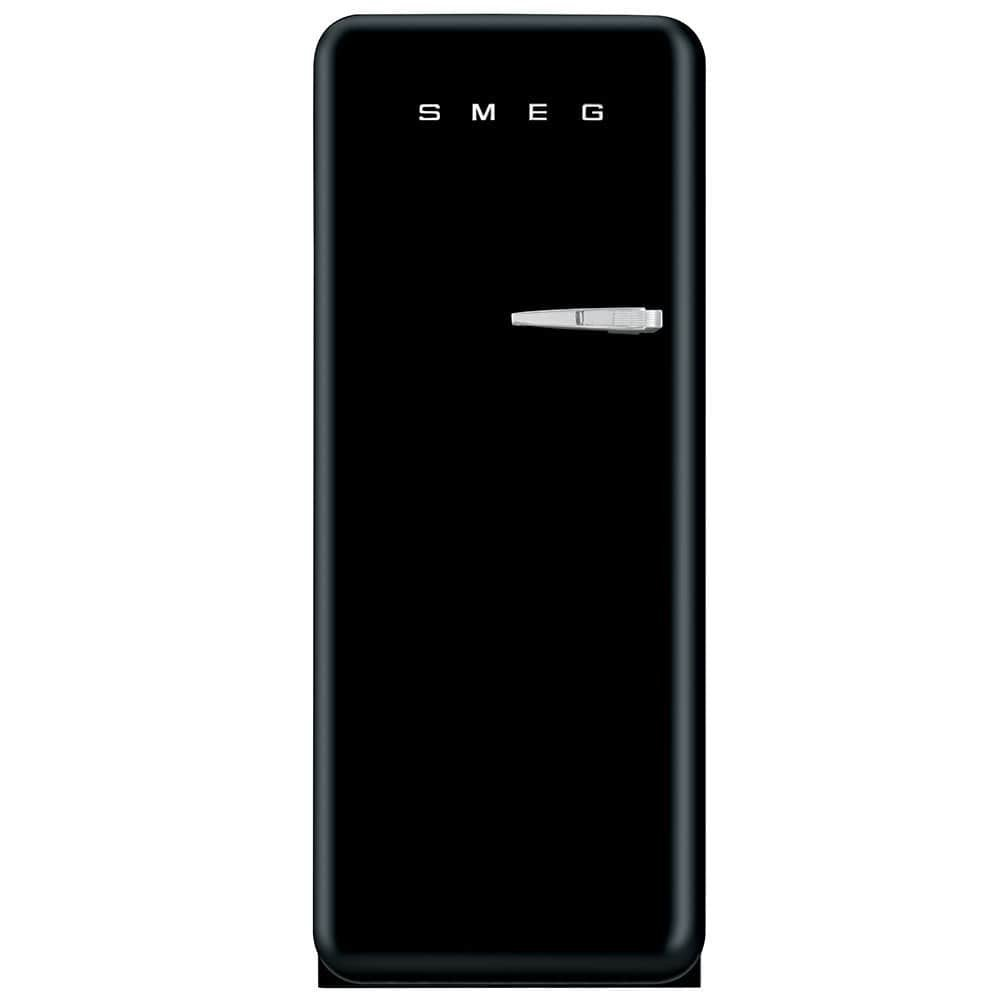"Smeg FAB28UBLL1 24"" 50s Retro Style Top-Freezer Refrigerator with 9.22 Cu. Ft. Capacity Ice Compartment Interior Light Adjustable Glass Shelves and Bottle Storage in Black: Left"