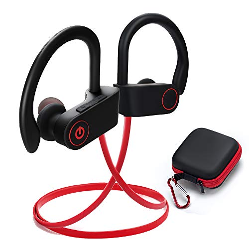 Wireless Sports Earphones Mic IPX7 WateWireless Sports Earphones Mic IPX7 Waterproof HD Stereo Sweatproof Earbuds Gym Running Workout 8 Hour Battery Noise Cancelling Headphones (red)