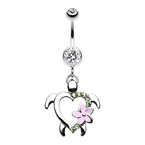 FreshTrends Hawaiian Flower Sea Turtle Surgical Steel Dangle Belly Ring - 14 G Choose Gem Color - Belly Ring Dangle Gem Clear