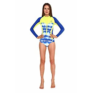 Glidesoul 0.5mm Corset Spring Tie Dye Suit, Blue Print/Lemon, XX-Small