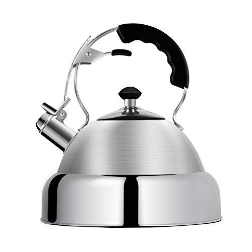 Tea Kettle Stovetop Whistling Teakettle Stainless Steel - Large 4.5 Quart - AMFOCUS by AMFOCUS