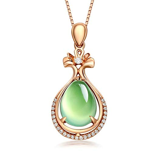 QMM necklace Pendant Rose Gold Grapevine Jade Pendant Line Mosaic Diamond Gemstone Necklace Turquoise Women