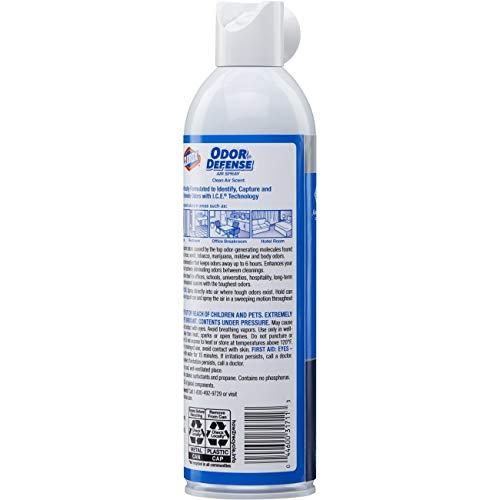 Clorox, CLO31711, Odor Defense Clean Scent Air Aerosol Spray, 1 Each, White
