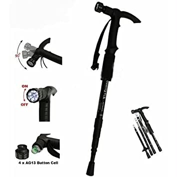 Grand Harvest Adjustable 9 LED Anti Shock Trekking Hiking Pole Vault Stick    43 Inch (