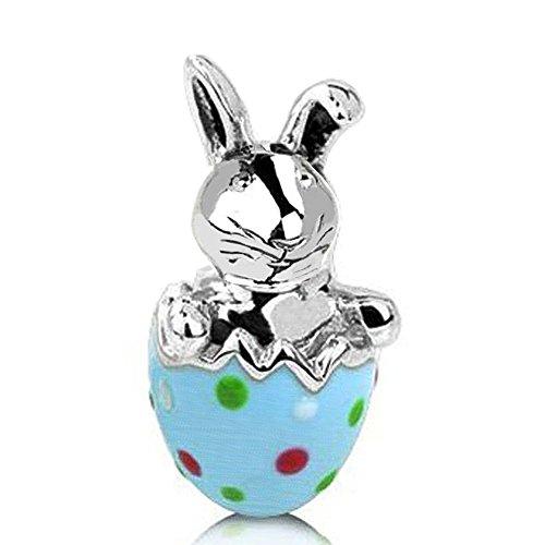 Enamel Rabbit Charm (Jovana Sterling Silver Happy Bunny Bead Charm with Enamel , Fits pandora Bracelet)