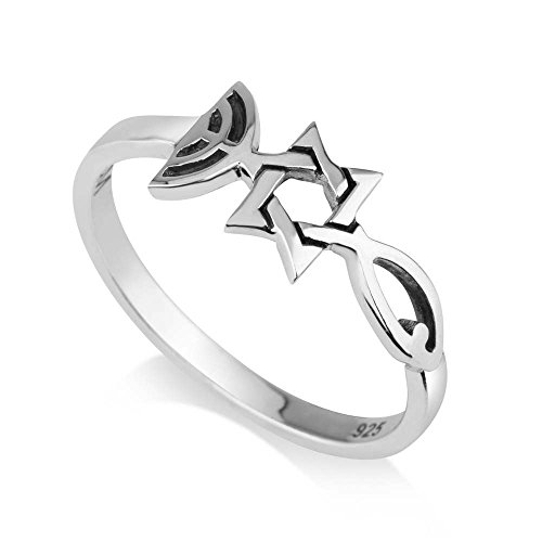 925 Sterling Silver Triple Faith Symbol Ring, Grafted-in, Messianic seal. Womens or Mens Thin Real Silver Band, Fish, Star of David, Menorah Menorah Ring