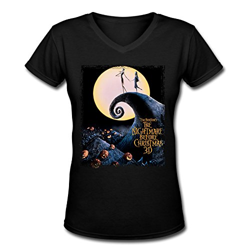 Women The Nightmare Before Christmas Movie Poster Short Sleeve V Neck Tee Shirt