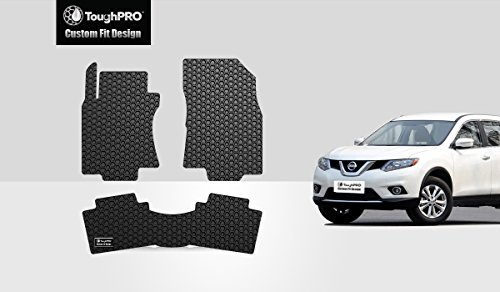 ToughPRO Floor Mats Set (Front Row + 2nd Row) Compatible with Nissan Rogue - All Weather - Heavy Duty - (Made in USA) - Black Rubber - 2014, 2015, 2016, 2017, 2018, 2019