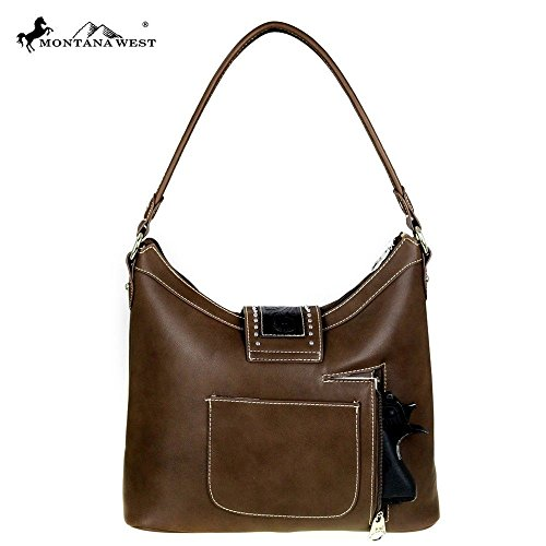 Accents w Carry tooled Large Leather Brown Montana West Hobo Concealed 8gqS77R