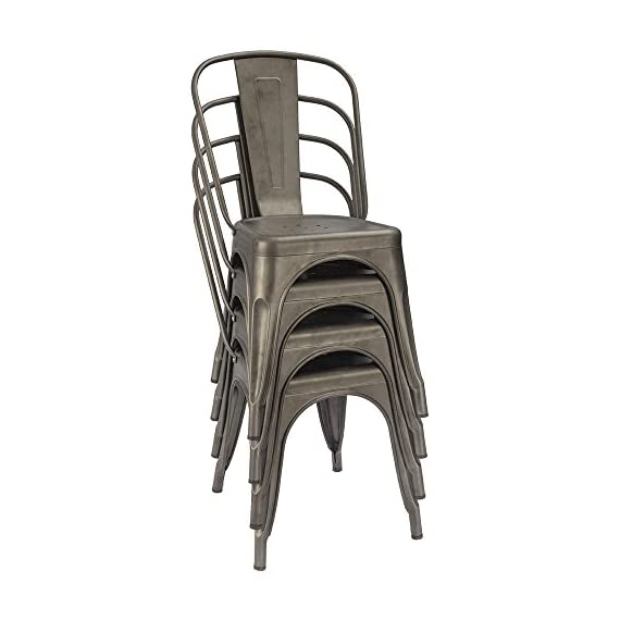 Furmax Metal Dining Chairs Set of 4 Indoor Outdoor Patio Chicken 18 Inch Seat Height Trattoria Chic Bistro Cafe Side Stackable,Gun - Style and occasion:Metal chair with simple style and gun metal,using indoors and outdoors,perfect for Kitchen, Cafe or Bistro. Easy assembly and premium material:Assembled within 10 minutes.Scratch and resistant steel,super durable.No-mark rubber feet keep them from sliding and scratching hardwood floors. Space saving and stability:Stackable for space saving and easy to carry.The seat has cross support at the bottom,which greatly increases the stability. - kitchen-dining-room-furniture, kitchen-dining-room, kitchen-dining-room-chairs - 413YsRBKzsL. SS570  -