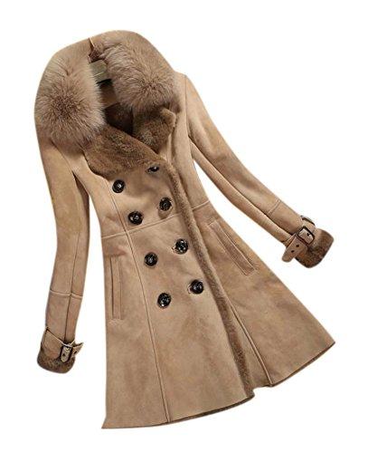 Fur Trim Tweed - Allbebe Women's Winter Thicken Long Faux Fur Shearling Coat with Fox Fur Trim