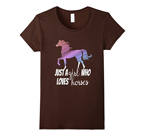 Womens Just a Girl Who Loves Horses Animal Love T-shirt S...