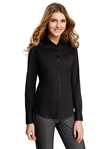 oodji Ultra Mujer Camisa Básica con un Bolsillo Negro (2900N)