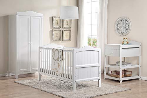 Babylo Houten Ella Kinderbed en Peuterbed 3-Positie Hoogte Converteert van Kinderbed naar Peuter Eerste bed, Wit