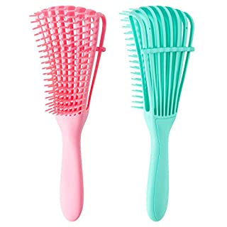 2 Pack Detangling Brush for Wet Dry Curly Thick Natural Long Hair for Hair Textured 3a to 4c Anti Static Hair Styling Comb(Pink + Green)
