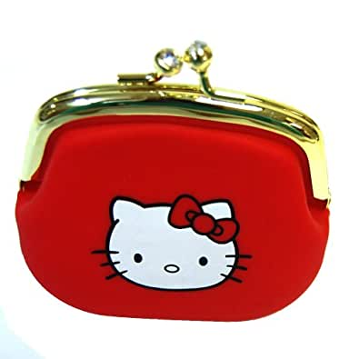 Hello Kitty Portable Clutch Wallet Coin Purse with Jewel Closure Red