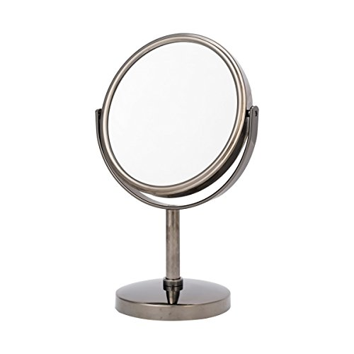 Danielle Two-Sided 5X Magnification Round Vanity Mirror, Gun -