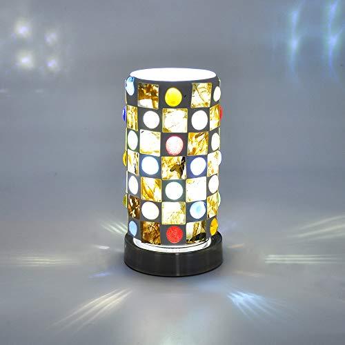 Artpad nachtkastje LED-tafellamp met beplating Metalen draaibare voet Kleurrijke cilindrische glazen lamp Standaard op…