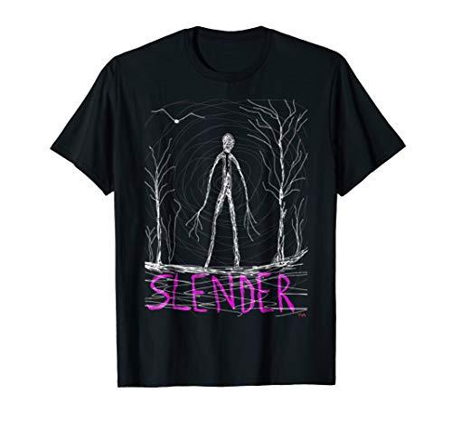 Creepy Slender Man in woods on Halloween Tshirt -