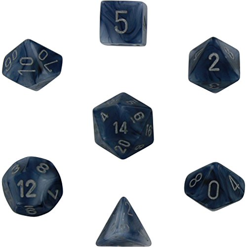 Chessex Dice: Polyhedral 7-Die Phantom Dice Set - Black - Metal Chessex Dice