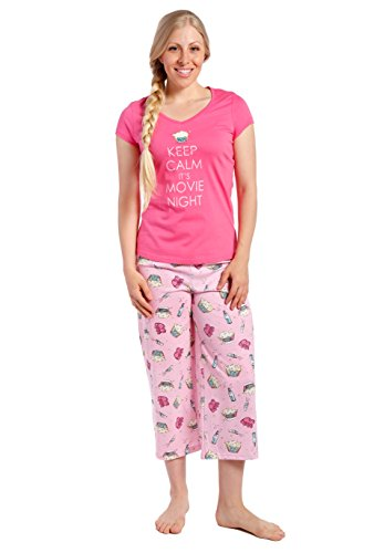 Lounge Set - Movie Night - Rose - Large (Cotton Capri Set)