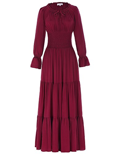 Belle Poque Renaissance Peasant Maiden Boho Long Sleeve Maxi Dress for Wedding Wine Size M BP225-2 ()