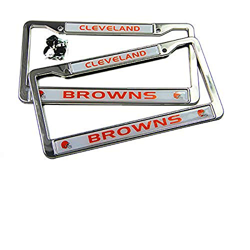 MT-Sports Store Football Team 2 Pcs 4 Holes Car Licenses Plate Frames Stainless Steel (Cleveland ()