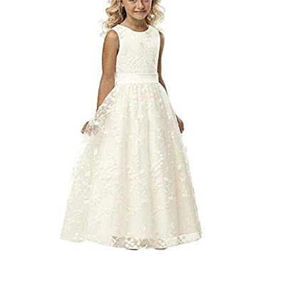Carat Line Wedding Pageant Lace Flower Girl Dress With Belt 2-12 Year Old