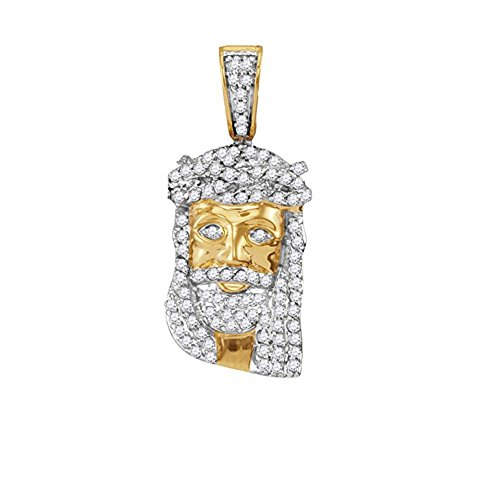 10K Yellow Gold Mens Diamond Jesus Christ Messiah Head Necklace Pendant 1/3 ()