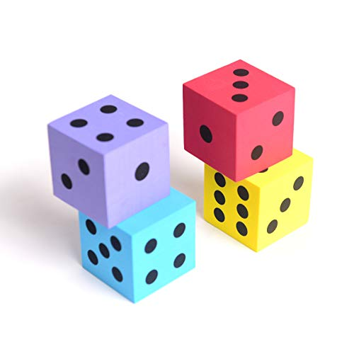 Foam dot dice, Large, 4pcs/Pack. Square, Assorted Colors - Great for Playing Games - for Kids Boys and Girls Party Favors, Bag Stuffers, Fun, Toy, Gift, Prize, Piñata ()
