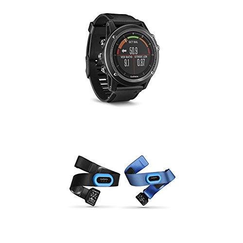 Garmin Fenix 3 HR, Gray and HRM-Tri and HRM-Swim Accessory Bundle