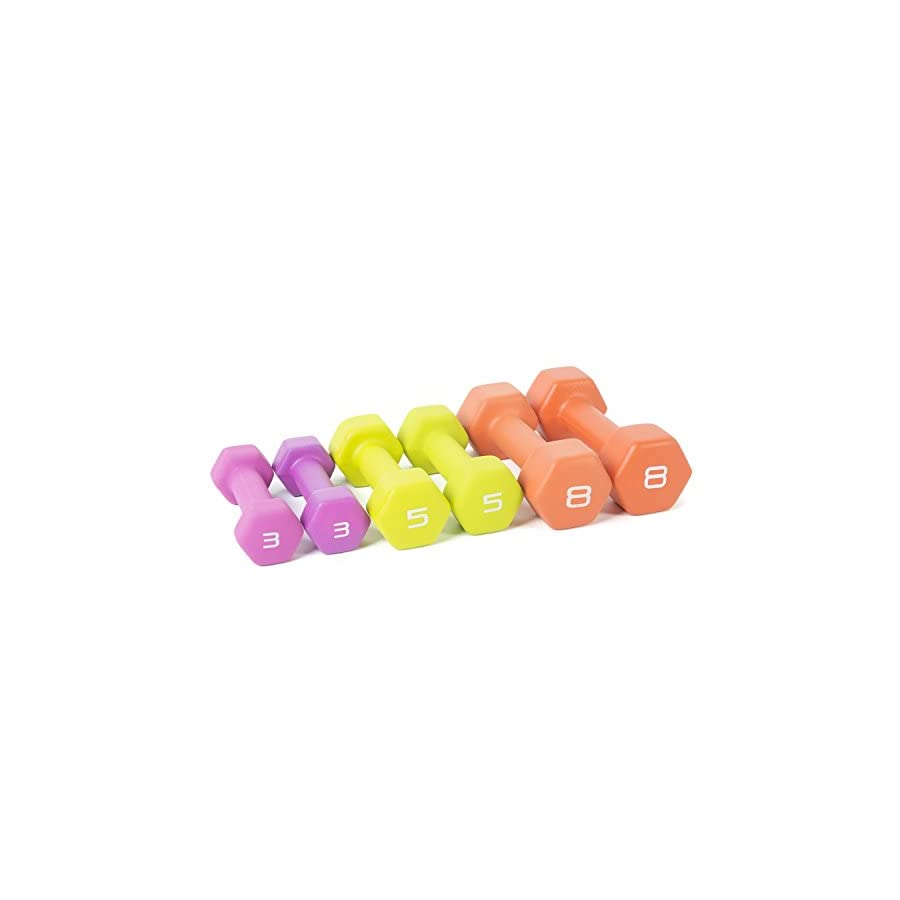 Tone Fitness Neoprene Dumbbell Set with Rack, 32 Pounds of Weights