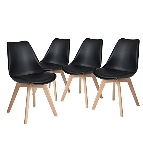 H.JWeDoo Modern Dining Chairs Set of 4,Tulip Kitchen Chairs Eiffel Side Chair Leather Cushion Solid Wood Legs for Dining Room Bedroom Home Furniture,Black For Sale