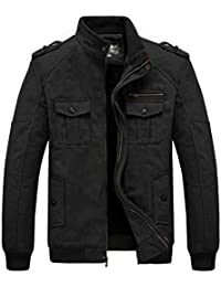 Men's Winter Thicken Wool Blend Military Jacket with Faux Fur Lined
